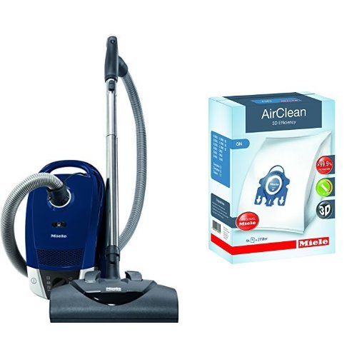 C2 Canister (Miele Compact C2 Electro+ Canister Vacuum,Marine Blue & Miele 10123210 AirClean 3D Efficiency Dust Bag, Type GN, 4 Bags & 2 Filters)