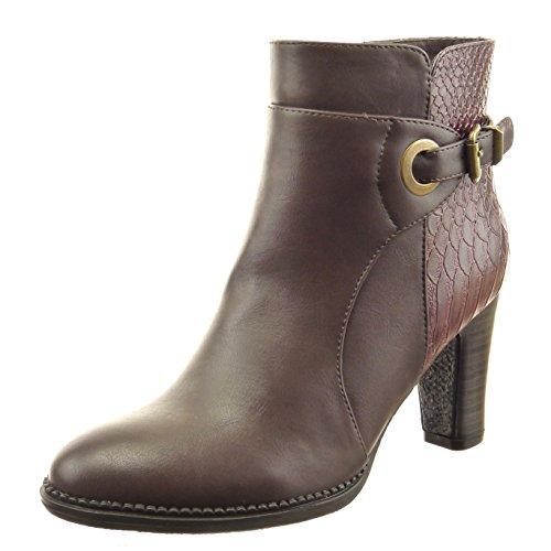 Sopily - Scarpe da Moda Stivaletti - Scarponcini alla caviglia donna pelle di serpente fibbia Tacco a blocco tacco alto 8 CM - Marrone