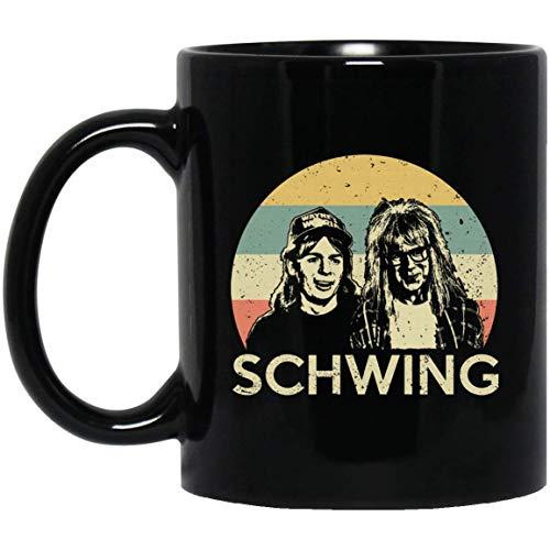 WAYNE'S WORLD SCHWING SUNSET 11 oz. Black Mug Coffee Ceramic Mug/Tea Cup for Office Adorable Gift for Best Friend Classmate.