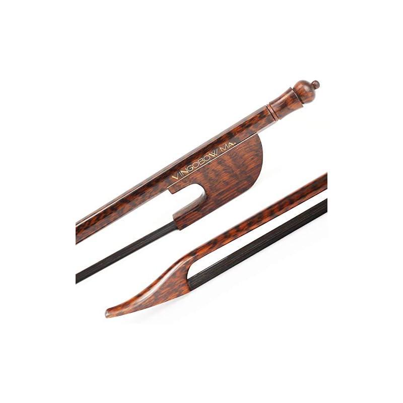 VingoBow New Full Size Black Horse Hair Snakewood Baroque Violin Bow Wild Sound Easier Control. Art No.610VB