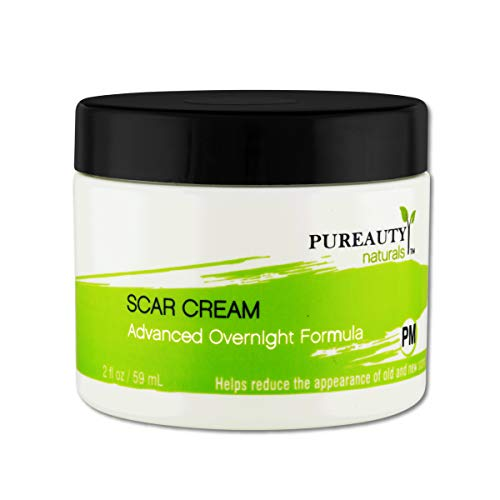 Scar Cream Acne Stretch Marks Burns Cuts C Section Plastic Surgery, Reduce the Appearance of Old and New Scars, Face and Body, Men and Women, Night Time Formula - Pureauty Naturals - 59ml