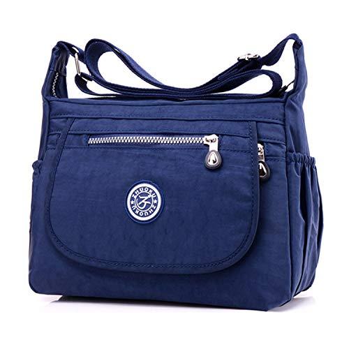poches Sac Multi Nylon Bleu 3 Sac en 1 Impermeable Messenger Noir Clotty femme bandoulière zwqdffT