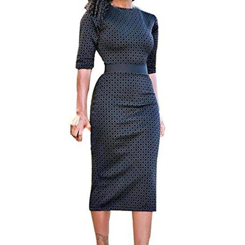 Clearance ! Women Dress, ღ Ninasill ღ High Waist Patchwork Geometric Print Split Party Evening Prom Swing Dress (XL, Black)