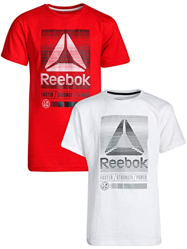 Reebok Boys Short Sleeve Fashion T-Shirt (2 Pack) (White/True Red, Medium / 10-12)'