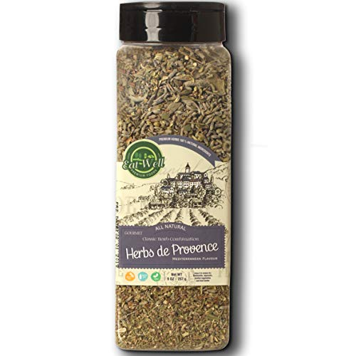 Herbs De Provence Seasoning | 9 Ounce - 255 Gr Bulk Spice Quart Jar with Shaker Top | Seasoning - Spice Blend with Lavender and Crushed Sage Leaves |100% Natural Blend, Gluten Free & Non-GMO