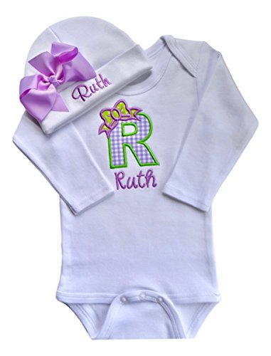 Baby Girl Embroidered Initial Onesie Bodysuit and Matching Grosgrain Bow Hat with Your Custom Name (0-3 Months, Lavender Gingham with Lavender Bow Hat)