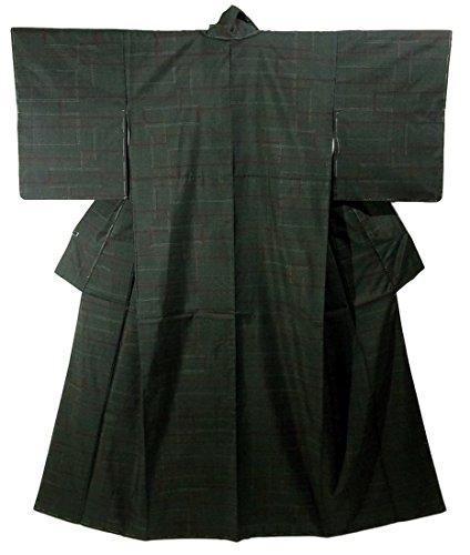 リサイクル 着物 大島紬  ライン模様 一元式5マルキ 裄62.5cm 身丈159cm