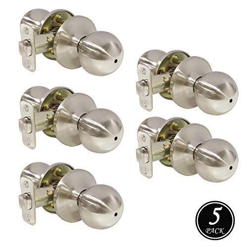 Bedroom Bathroom Door Lock Keyless Handleset Brushed Nickel Finish Interior Privacy Door Knob 5 Pack