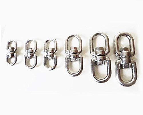 raccordo ad anello 5 pezzi Chiloskit Moschettone girevole in acciaio inox doppio gancio M4 da 0,9 cm x 0,9 cm anelli per catena gancio girevole
