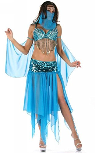 Gogo Dancer Costumes (JJ-GOGO Sexy Belly Dancer Princess Costume (Blue))
