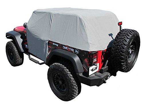 Cover Water Resistant Cab - Rampage Products 1163 Waterproof Cab Cover with Door Flaps for 2007-2018 Jeep Wrangler JK 2-Door, Grey