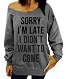Dutebare Women Long Sleeve Sweatshirt Off Shoulder Tops Slouchy Pullover Shirt Grey c XL