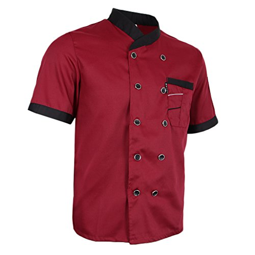 (Prettyia Unisex Summer Breathable Executive Chef Jacket Coat Kitchen Bakery Uniform Short Sleeves 5 Colors Chef Apparel M-2XL - Red, M)