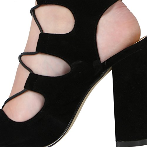 Peeptoe Ladies CORE up Shoes Cutout COLLECTION Heel 3 8 Sandal HIGH Black Womens Size New Block Suede Lace 0rrCqwt