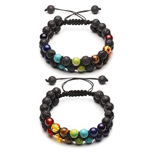 Jovivi 8mm 2pcs Men Women 7 Chakra Bracelet Double Layer Natural Energy Healing Stone Essential Oil Lava Rock Yoga Beads Bracelets Meditation Adjustable