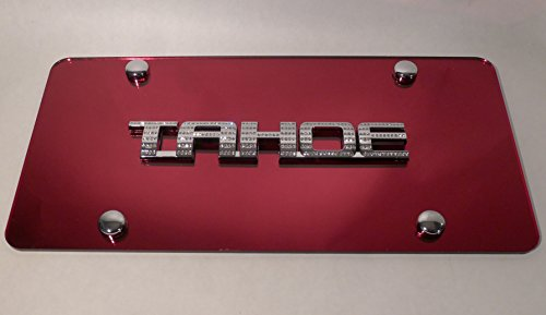 Chevy Tahoe Red License Plate Tag Chrome Swarovski Iced Out Crystal Emblem (Crystal Emblem Red)