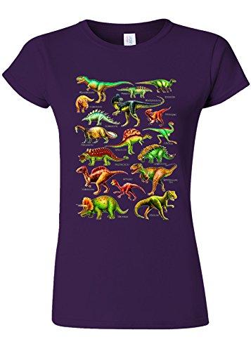 適格さらに魅了するDinosaurs Names Kinds Funny Novelty Purple Women T Shirt Top-S