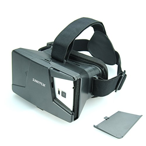 SUNNYPEAK Plastic Google Cardboard 3D VR Virtual Reality Glasses 3D Video Movie Game Glasses with Focal and Pupil Distance Adjustment with QR Code for iPhone Samsung Nexus HTC Moto LG, Black