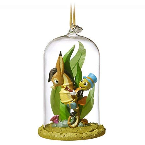 2018 Disney Sketchbook Pinocchio Jiminy Cricket Riding Seahorse Glass Dome Ornament