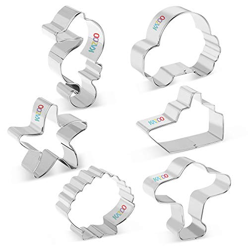 - KAZOO Holiday Cookie Cutter Set - 6 Piece - Car, Plane, Ship, Seahorse, Starfish and Seashells - Stainless Steel