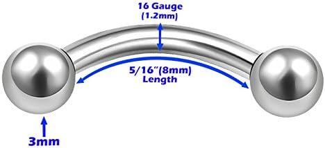 3Pcs Internally Threaded Surgical Steel 16 gauge 8mm 10mm 12mm curved barbell bar Piercing Jewelry Eyebrow lip 3mm Ball M0959