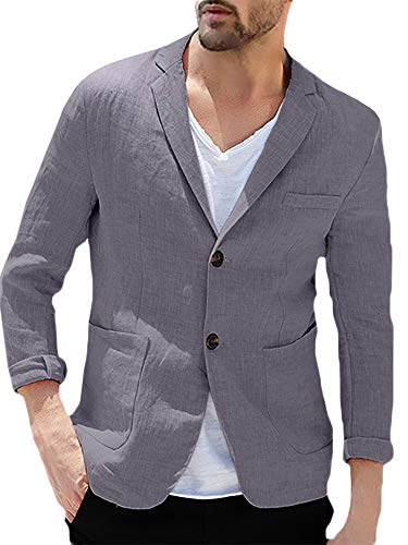 Enjoybuy Mens Linen Tailored Long Sleeve Blazer Casual Two-Button Suit Lightweight Jacket (Medium, Grey)