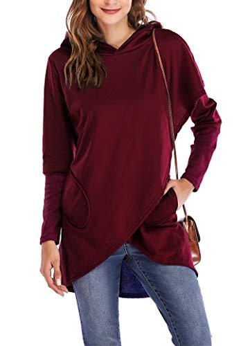SocoToo Women's Long Sleeve Hooded Sweatshirt Wrap Asymmetric Hem Pullover Hoodies (Small, Wine Red) -
