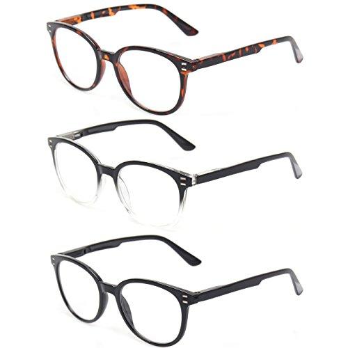 Reading Glasses 3 Pack Round Frame Spring Hinge Readers Men and Women Plastic Glasses