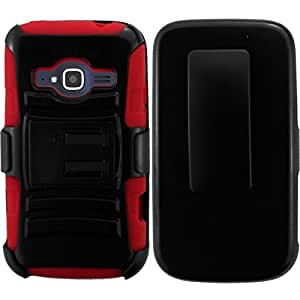 ZTE Concord II Case, HRWireless Side Stand Cover Case With Holster compatible with ZTE Concord II Z730, Black/Red