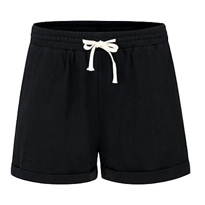 Yknktstc Womens Plus Size Shorts Elastic Waist Mid Length With Pockets