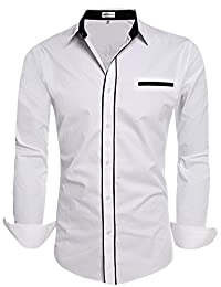 HOTOUCH Men's Slim Fit Stafford Dress Shirt Long Sleeve White XXL