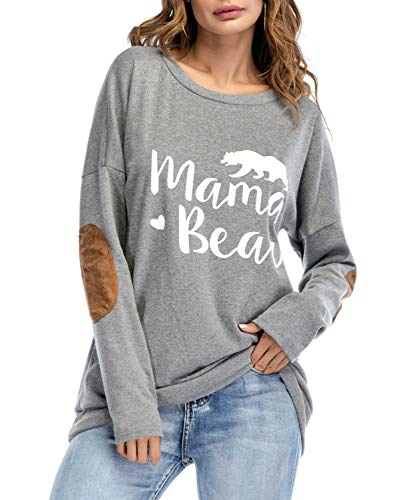 Womens Long Sleeve Sweatshirts,Mama Bear Elbow Patch Crew Neck Loose Tunic Blouse Tops T-Shirts Grey S