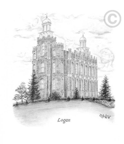 LDS Logan Utah Temple - Chad Hawkins Temple Sketch - 11x14 - Lds Logan Temple