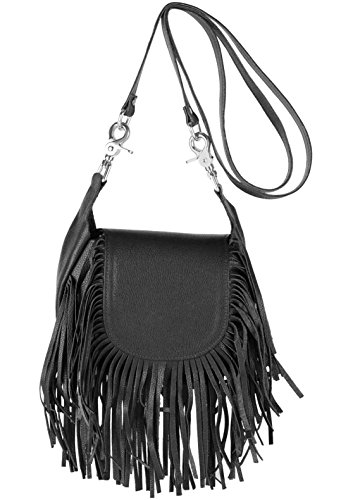 Women's top grain cowhide Leather Fringe Crossbody Bag, Shoulder Bag, Handbag, Made in USA,black