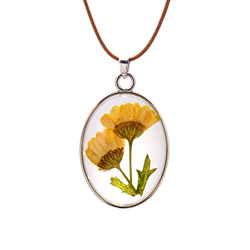 FM FM42 Natural Yellow Pressed Flowers Leaves Oval Pendant Necklace FN4195 ()