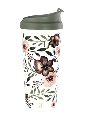 Steel Mill & Co Insulated Thermal Travel Coffee Mug Tea Cup |16oz Travel Cup | Floral Tumbler, Woodland Floral
