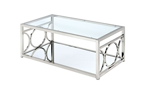 (HOMES: Inside + Out ioHOMES Ortencia Chrome O-Ring Frame Coffee Table,)