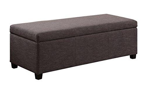Simpli Home Avalon Linen Rectangular Storage Ottoman Bench, Large, Slate Grey