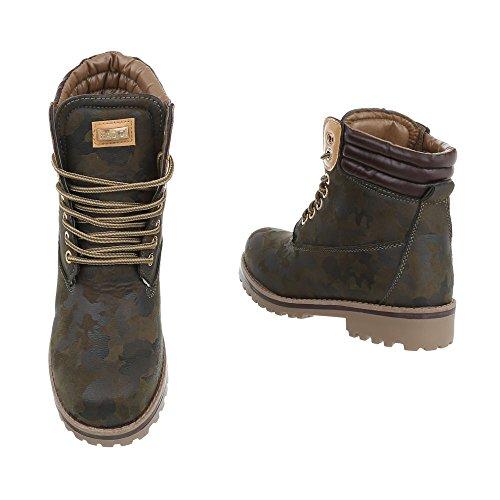 Leicht Unisex Damen Schuhe Herren Winterschuhe Boots Schnürstiefel Stiefeletten Schuhcity24 Khaki Profilsohle Übergrößen Worker Gefütterte Outdoor Outdoor Übergang qt1EdtWw