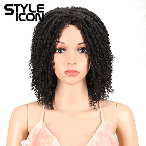 "Style Icon 6"" Short Dreadlock Wig Twist Wigs for Black Women Short Curly Synthetic Wigs (6"", 1B)"