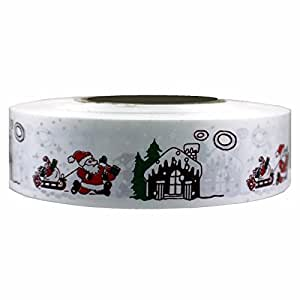 "Christmas Wrapping Ribbon Spool for Gifts, Presesnts, Tree, Basket, Crafts - 1 1/4"" x 50 Yards, Santa Claus Pattern"
