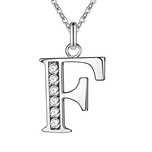 JewelBeauty Cubic Zirconia Small 26 Letters Alphabet Personalized Charm Pendant Necklace for Men & Women Silver Tone (F)