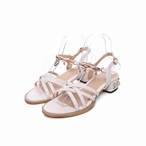 Carolbar Du Talon Boucle Mode Blanc Décorations Élégante Sandales Femmes Milieu Des rWrUBpTq