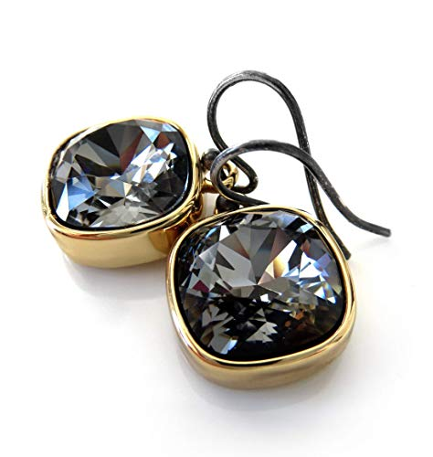 (Black Crystal Earrings with Swarovski Crystal in Gold-Plated Bezels, New Years Eve Jewelry)
