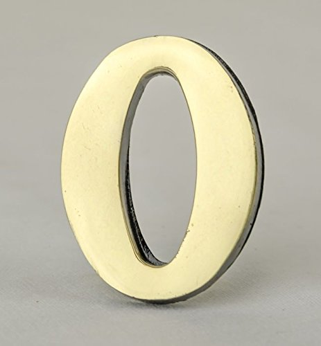 Address Number 0-2 Inch Solid Adhesive Brass Numbers for House, Door, Address Plaque, Mailbox | Satin Metallic Surfaces