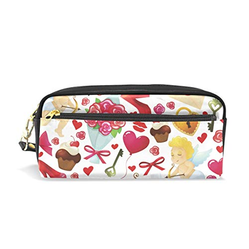 PU Leather Colorful Cartoon Love Element with Flowers High Heeled Shoes Heart Shaped Cupid Pen Pencil Case Bag Purse Pouch Cosmetic Bag Zipper for School Boy Girl Office Work