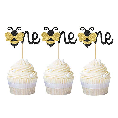 Newqueen 24 Pack The One Bee Cupcake Toppers Paper Glitter Cake Picks for Gender Reveal Baby Shower 1st Birthday Party Cake Decoration -