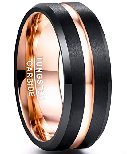 NUNCAD Mens 8mm Tungsten Carbide Ring Rose Gold Center Groove Wedding Band Size 14