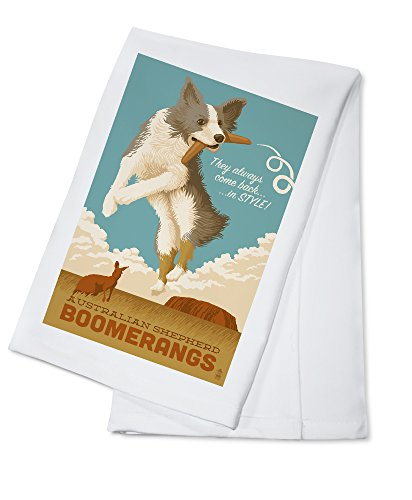 Australian Shepherd - Retro Boomerang Ad (100% Cotton Kitchen Towel) -  Lantern Press, LANT-55085-TL