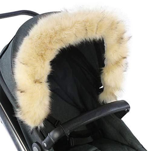 For-Your-Little-One Fur Hood Trim Pram Compatible on Cam Light Grey